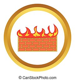Brick wall on fire vector icon