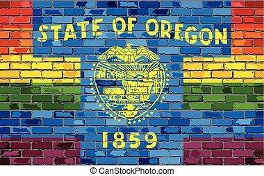 Brick Wall Oregon and Gay flags