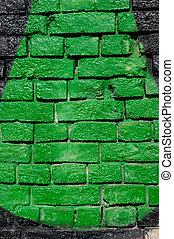 Brick wall painted in bright color closeup