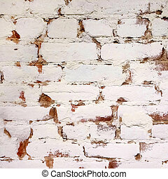 Brick wall painted in white color