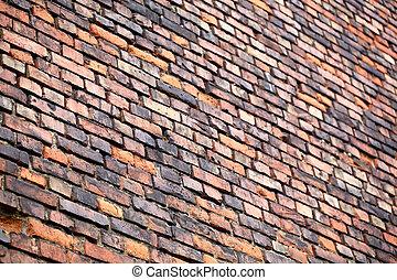 Brick wall perspective.