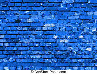 brick wall background or desktop in blue