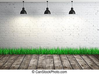 brick wall - white brick wall and wood floor
