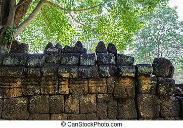 Brick wall Prasat Muang Singh, Kanchanaburi.