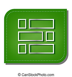 Brick wall sign. Silver gradient line icon with dark green shadow at ecological patched green leaf. Illustration.
