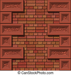 brick wall - red brick wall