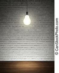 brick wall, table and lightbulb