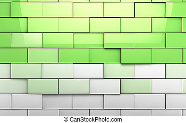 Brick wall tiles background in green toned