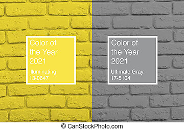 Brick wall toned into colors of the year 2021 Ultimate Gray and Illuminating