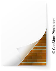 Brick wall under a sheet of paper.