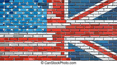Brick Wall USA and UK flags