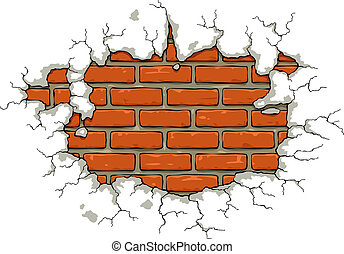 Brick wall with damaged plaster vector illustration