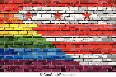 Brick Wall Washington, D.C. and Gay flags - Illustration, Rainbow flag on brick textured background, Abstract grunge Washington, D.C. Flag and LGBT flag
