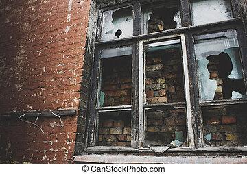 brick wall window wood window pane