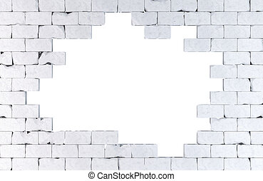 Brick Wall With A Large Hole Isolated Contains Clipping