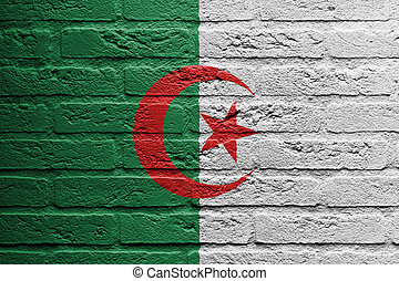 Brick wall with a painting of a flag, Algeria - Brick wall...