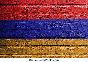 Brick wall with a painting of a flag, Armenia