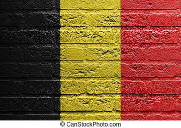 Brick wall with a painting of a flag, Belgium