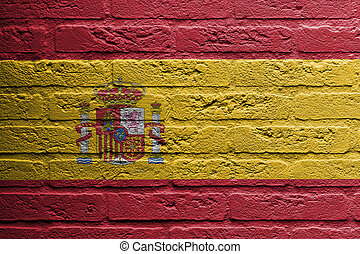 Brick wall with a painting of a flag