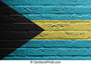 Brick wall with a painting of a flag, The Bahamas