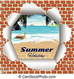 brick wall with a summer beach