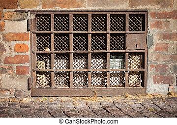 brick wall with a window