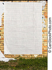 wall with blank poster - brick wall with blank poster and...
