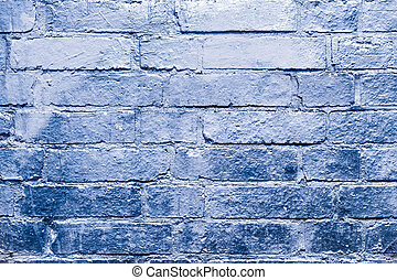 brick  wall  with blue, silver colored paint