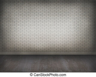 brick wall with concrete floor,3d