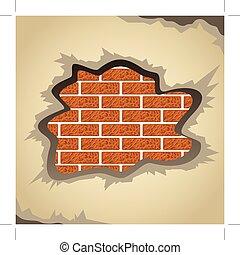 damaged plaster - Brick wall with damaged plaster