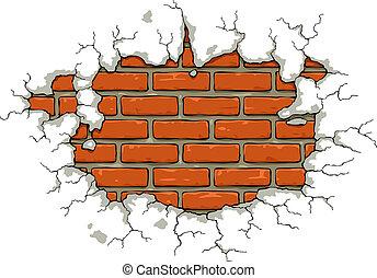 Brick wall with damaged plaster vector illustration