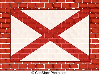 Brick Wall With Flag of Alabama State