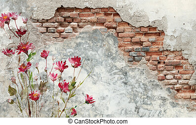 brick wall with flower painting on it