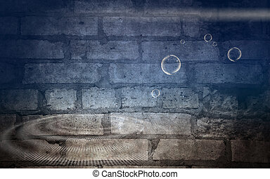 Brick wall with light and bubble