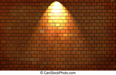 Brick wall with light
