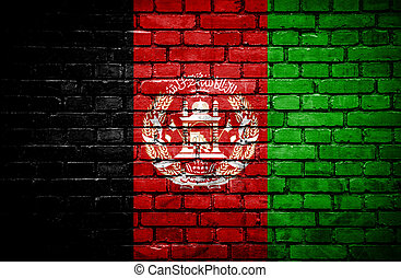 Brick wall with painted flag of Afghanistan