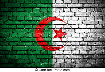 Brick wall with painted flag of Algeria