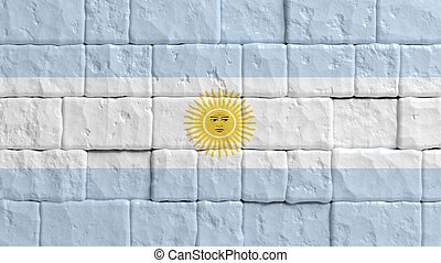 Brick wall with painted flag of Argentina.