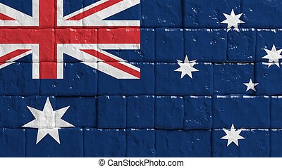 Brick wall with painted flag of Australia.