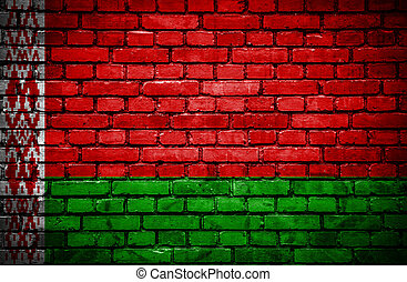 Brick wall with painted flag of Belarus