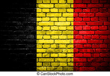 Brick wall with painted flag of Belgium