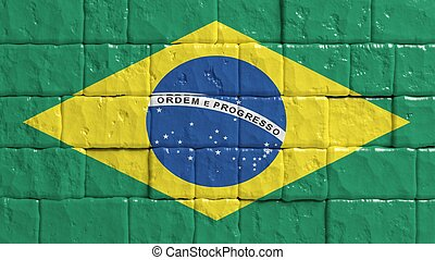 Brick wall with painted flag of Brazil
