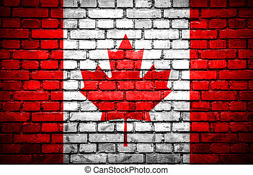 Brick wall with painted flag of Canada