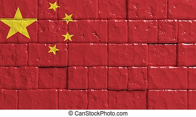 Brick wall with painted flag of China