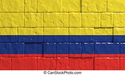 Brick wall with painted flag of Colombia