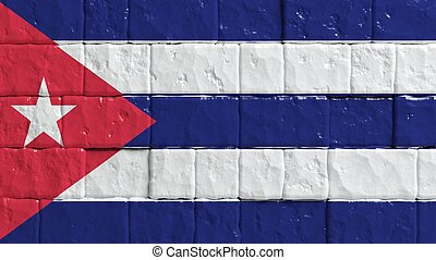 Brick wall with painted flag of Cuba