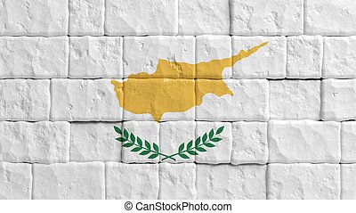 Brick wall with painted flag of Cyprus