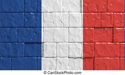 Brick wall with painted flag of France