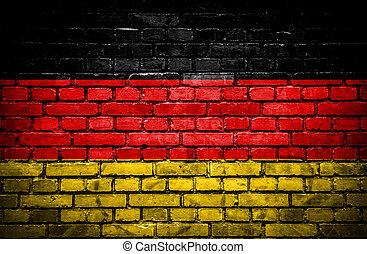 Brick wall with painted flag of Germany
