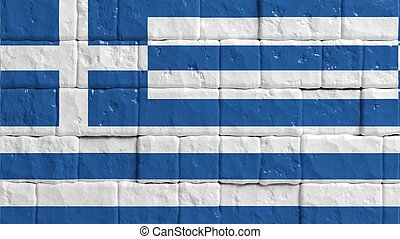 Brick wall with painted flag of Greece